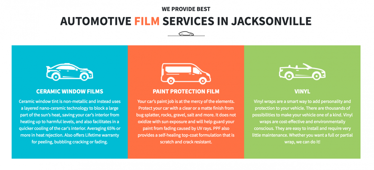 tint and paint protection film jacksonville